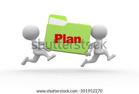 3d people - man, person with a folder. Plan concept - stock photo