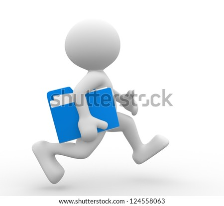 3d people - man, person with a folder, running. Businessman.