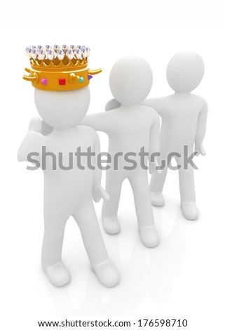 3d people - man, person with a golden crown and 3d man - stock photo