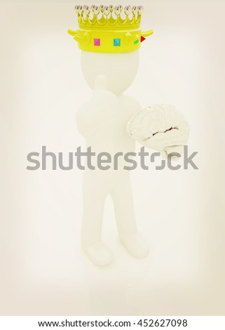 3d people - man, person with a golden crown. King with brain. 3D illustration. Vintage style. - stock photo