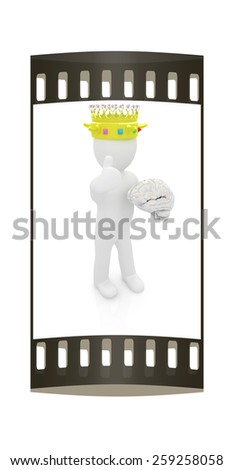 3d people - man, person with a golden crown. King with brain. The film strip - stock photo