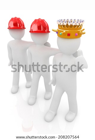 3d people - man, person with a golden crown. King with person with a hard hat - stock photo