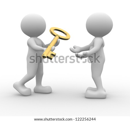 3d people - man, person with a golden key - stock photo