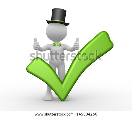 3d people - man, person with a green check mark. Ok - stock photo