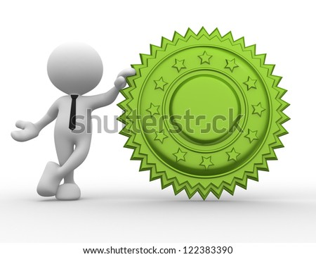 3d people - man, person with a guarantee seal - stock photo