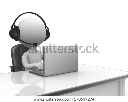 3d people - man, person with a Headphones with Microphone and laptop.  - stock photo