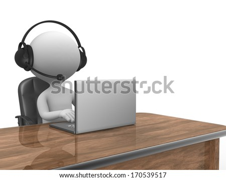 3d people - man, person with a Headphones with Microphone and laptop.