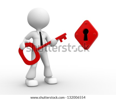 3d people - man, person with a key and a keyhole - stock photo