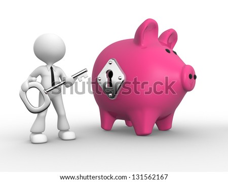 3d people - man, person with a key and a piggy bank