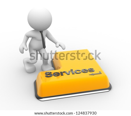 """3d people - man, person with a keyboard and word """"services"""" - stock photo"""