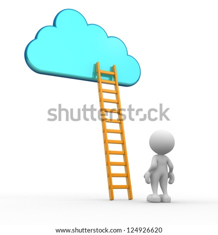 3d people - man, person with a ladder skyward.  Ladder of success - stock photo