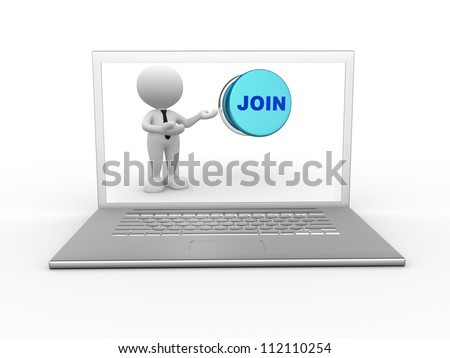 3d people - man, person with a laptop and a button - word join. - stock photo
