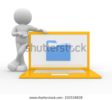 3d people - man, person  with a laptop and a folder. The offer of services - stock photo