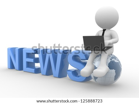 3d people - man, person with a laptop and earth globe. News concept