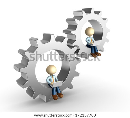 3d people - man, person with a laptop and gear.Development concept  - stock photo