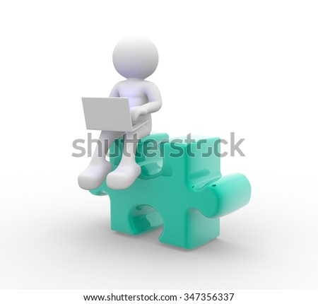 3d people - man, person with a laptop and pieces of puzzle.