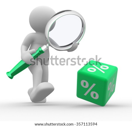 3d people - man, person with a magnifier and a percent sign. %