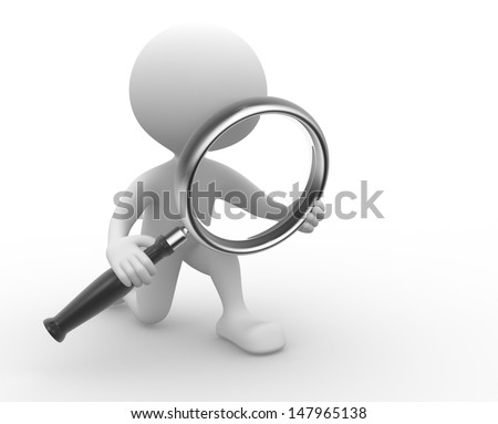 3d people - man, person with a magnifying glass - stock photo