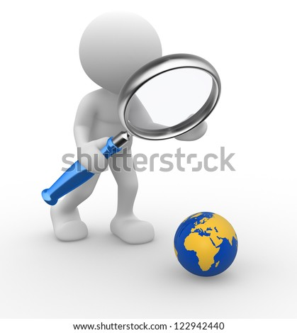 3d people - man, person with a magnifying glass a earth globe - stock photo
