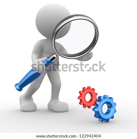 3d people - man, person with a magnifying glass and gear mechanism. - stock photo
