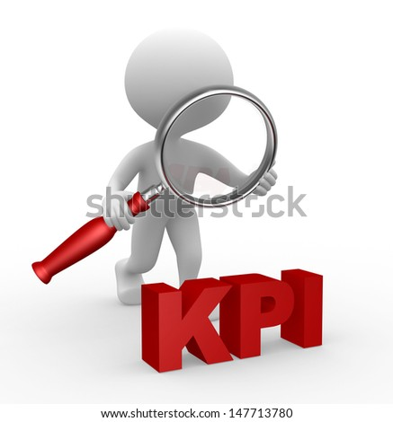 3d people - man, person with a magnifying glass and  KPI ( key performance indicator )  - stock photo