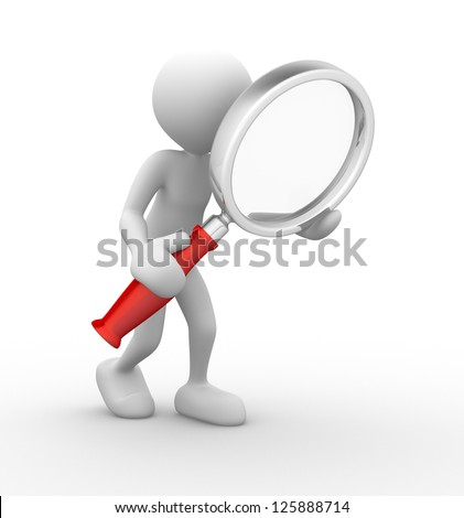 3d people - man, person with a magnifying glass. Search Concept - stock photo