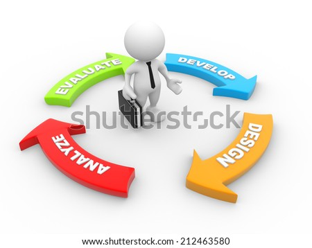 3d people - man, person with a management cycle graph. - stock photo