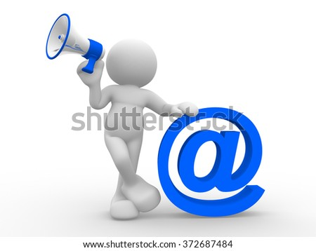 3d people - man, person  with a megaphone and email sign.  - stock photo
