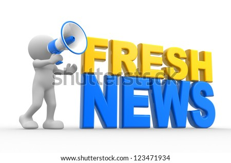 """3d people - man, person with a megaphone and text """" fresh news"""" - stock photo"""