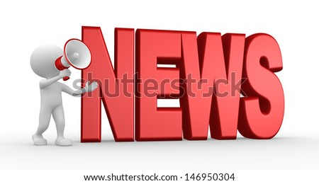 3d people - man, person with a megaphone and word NEWS. News concept