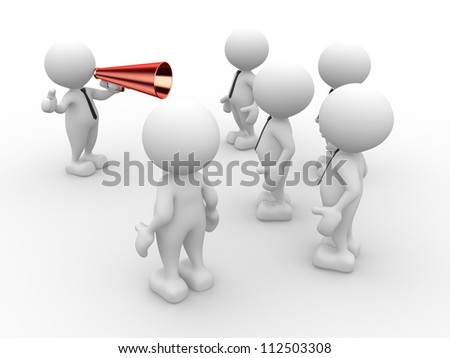 3d people - man, person with a megaphone in front of the crowd. - stock photo