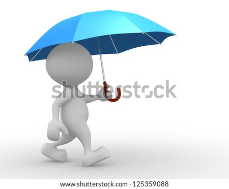 3d people - man, person with a opened blue umbrella. - stock photo