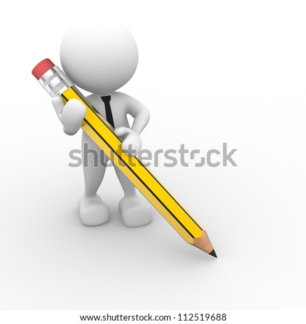 3d people - man, person with a pencil. - stock photo