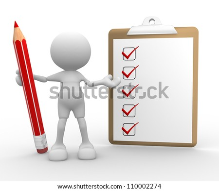 3d people -man,  person with a pencil and a clipboard. Checklist - stock photo