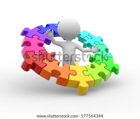 3d people - man, person with a pieces of puzzle. Jigsaw