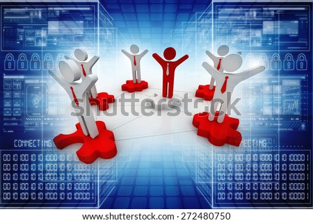3d people - man, person with a puzzle ( jigsaw). Join team - stock photo