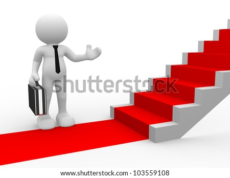 3d people - man, person with a red carpet and stairs. To Success. Businessman - stock photo