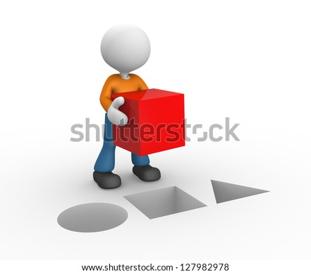 3d people - man, person with a red cube. - stock photo