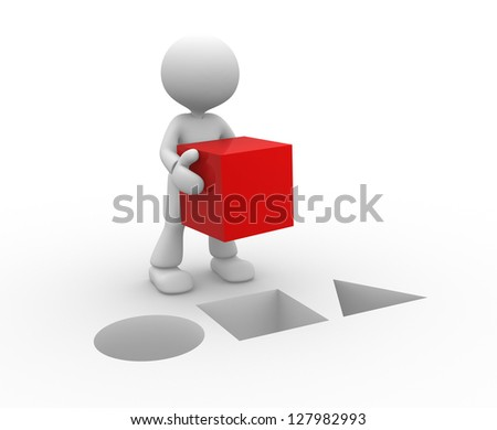 3d people - man, person with a red cube.