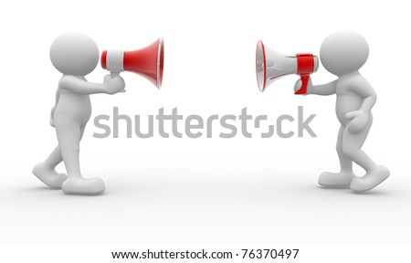 3d people - man, person  with a red megaphone . - stock photo