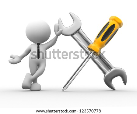 3d people - man, person with a screwdriver and a wrench - stock photo