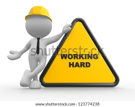 """3d people - man, person with a sign prohibit and text """"working area"""". - stock photo"""