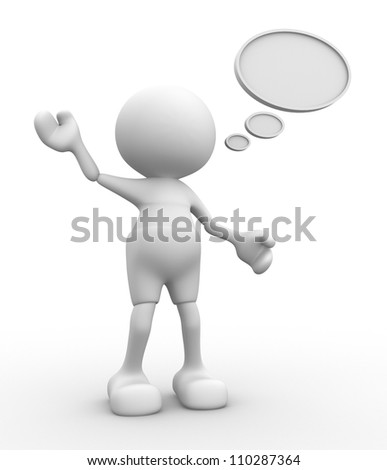 3d people - man, person  with a speech bubble. - stock photo