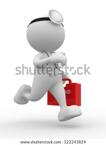 3d people - man, person with a stethoscope and first aid. Doctor - stock photo
