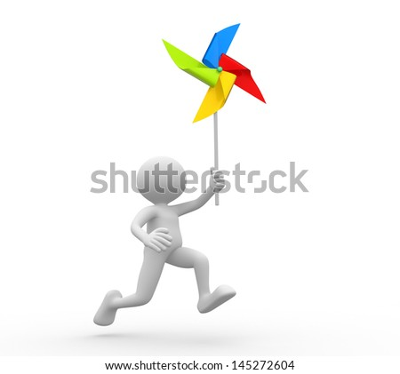 3d people - man, person with a toy pinwheel. Windmill - stock photo