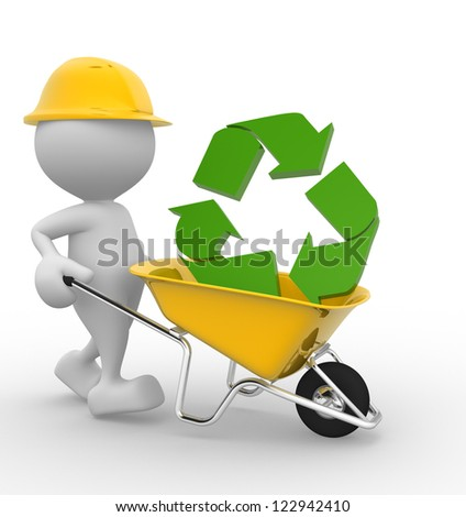 3d people - man, person with a wheelbarrow and a recycle sign. - stock photo