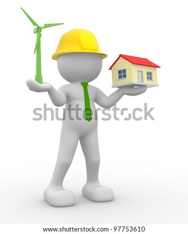 3d people - man, person  with a wind turbine and a house. Concept of ecology. 3d render - stock photo