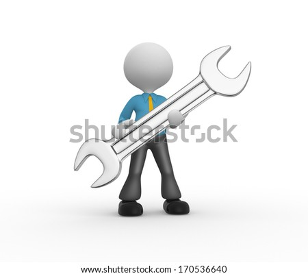 3d people - man, person with a wrench