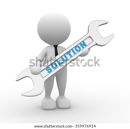 "3d people - man, person with a wrench and word ""solution"". Businessman and builder"