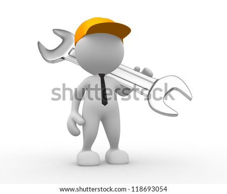 3d people - man, person with a wrench. Businessman and builder